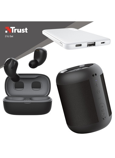 Trust Trust Nika Compact Siyah Bluetooth Kulaklık ve Beyaz Powerbankli 3'lü Hediye Seti Renkli